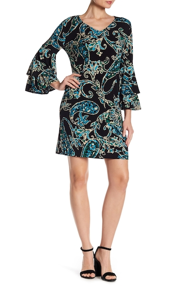 Imbracaminte Femei London Times 34 Length Flounce Bell Sleeve Print Shift Dress BLK-TEAL