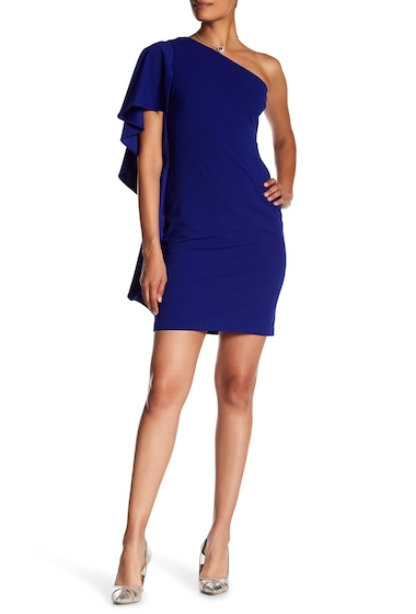 Imbracaminte Femei Modern American Designer One-Shoulder Ruffle Side Dress ULTRAMARIN