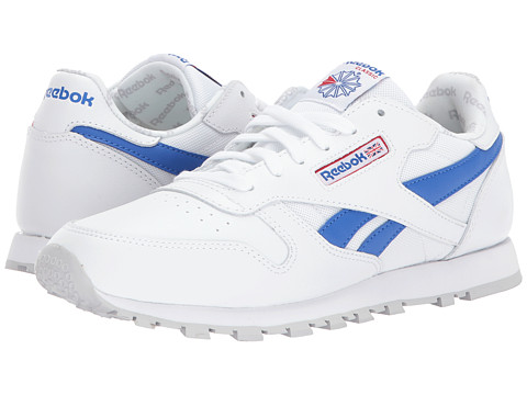 Incaltaminte Fete Reebok Classic Leather Switch Out (Big Kid) WhiteVital BluePrimal RedLight Solid Grey