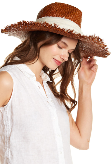 Accesorii Femei Michael Stars On The Fray Wide Brim Raffia Hat JAV