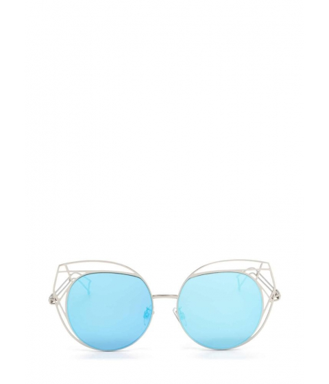 Accesorii Femei CheapChic Poolside Stay Cut-out Round Sunglasses Blue