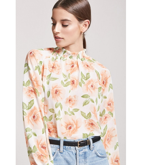 Imbracaminte Femei Forever21 Sheer Floral Top WHITEPEACH