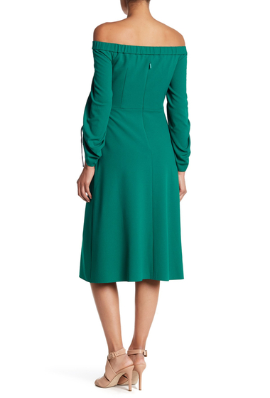 Imbracaminte Femei Tibi Off-the-Shoulder Midi Dress MIDORI GREEN