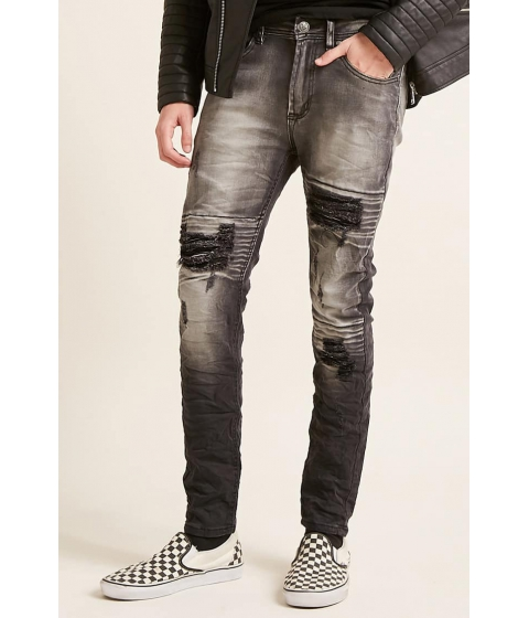 Imbracaminte Barbati Forever21 Waimea Distressed Stone Wash Jeans BLACK