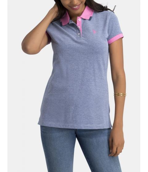 Imbracaminte Femei US Polo Assn COLLAR TRIM BIRDSEYE POLO SHIRT CLOUDBURST BLUE