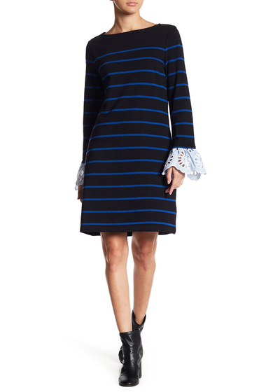 Imbracaminte Femei BeachLunchLounge Striped Embroidered Cuff Knit Dress F4579INDGO