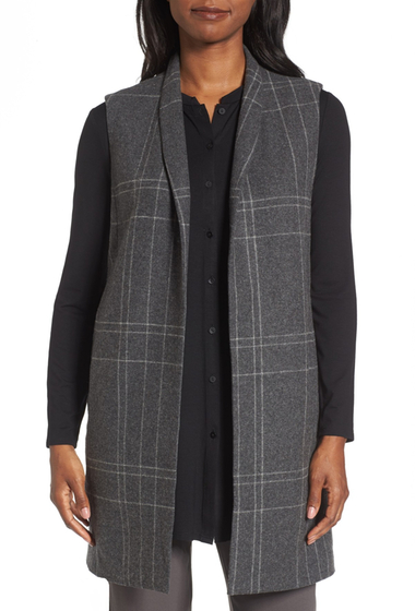 Imbracaminte Femei Eileen Fisher Long Plaid Vest DKASH