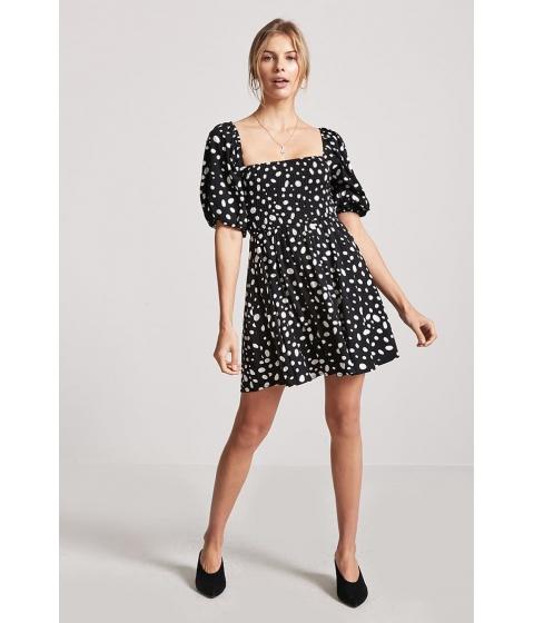 Imbracaminte Femei Forever21 Polka Dot Smocked Dress BLACKWHITE