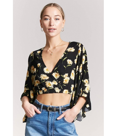 Imbracaminte Femei Forever21 Floral Bell-Sleeve Crop Top BLACKYELLOW
