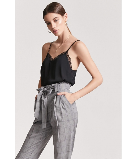 Imbracaminte Femei Forever21 Glen Plaid Paperbag Pants GREY