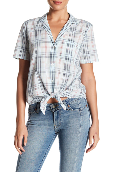 Imbracaminte Femei Equipment Keira Plaid Tie Front Shirt MINT JULEP MULTI