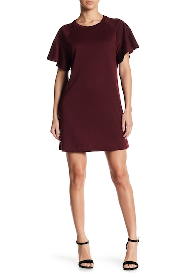 Imbracaminte Femei LOVEAdy Ruffle Sleeve Sweater Dress MERLOT
