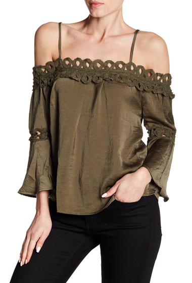 Imbracaminte Femei Flying Tomato Satin Lace Cold Shoulder Blouse OLIVE
