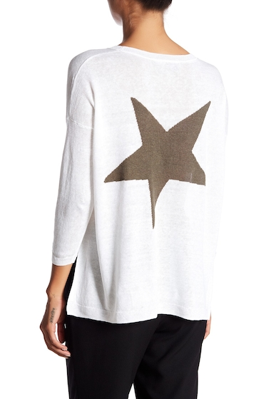 Imbracaminte Femei 360 Cashmere Aruna Back Star Hi-Lo Linen Sweater WHITE-OLIVE STAR