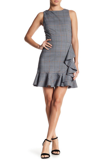 Imbracaminte Femei LOVEAdy Ruffle Accent Plaid Dress BLUE MULTI