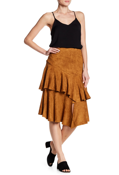 Imbracaminte Femei Flying Tomato Ruffle Tiered Faux Suede Skirt CAMEL