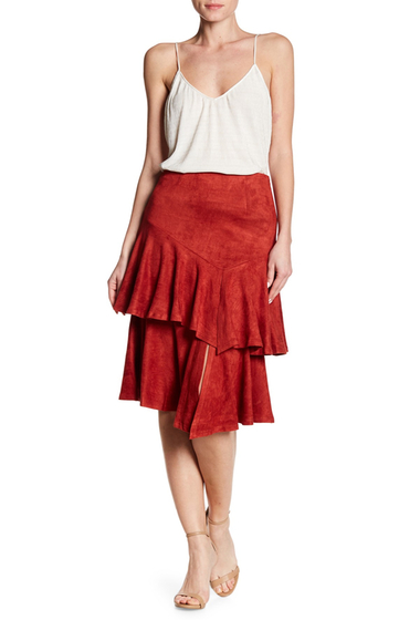 Imbracaminte Femei Flying Tomato Ruffle Tiered Faux Suede Skirt BRICK
