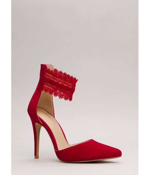 Incaltaminte Femei CheapChic Cuff Love Pointy Crochet Strap Heels Red