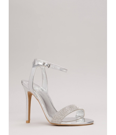 Incaltaminte Femei CheapChic Sparkles Will Fly Strappy Jeweled Heels Silver