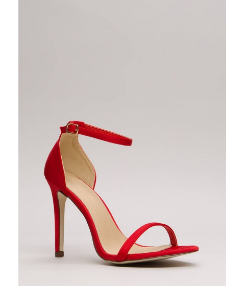 Incaltaminte Femei CheapChic The Skinny Satin Ankle Strap Heels Red