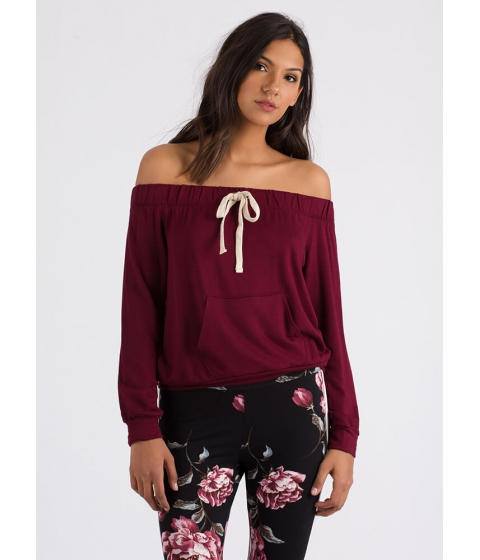 Imbracaminte Femei CheapChic Taking The Day Off-shoulder Sweatshirt Burgundy