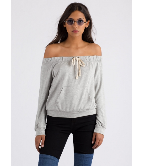 Imbracaminte Femei CheapChic Taking The Day Off-shoulder Sweatshirt Hgrey