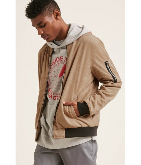 Imbracaminte Barbati Forever21 Faux Suede Bomber Jacket TAUPE