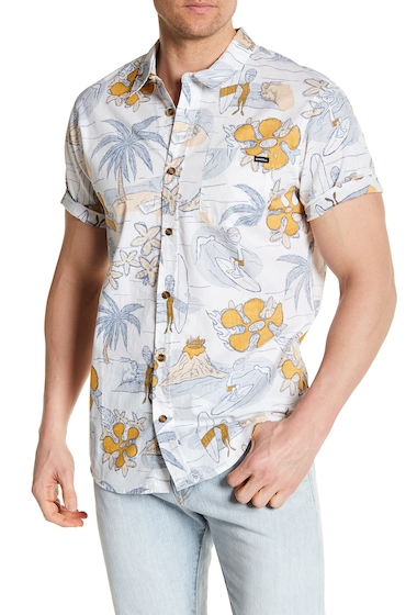 Imbracaminte Barbati ONeill Simich Patterned Short Sleeve Regular Fit Shirt WHITE