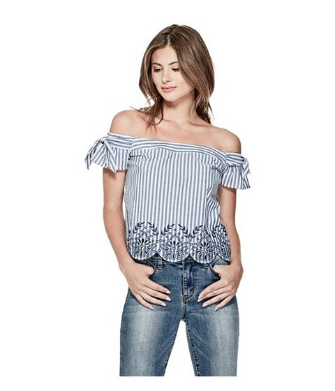 Imbracaminte Femei GUESS Makayla Striped Off-The-Shoulder Top navy multi