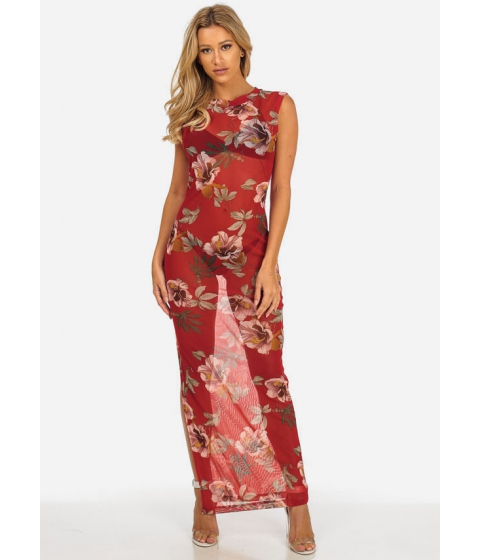 Imbracaminte Femei CheapChic Sexy See Through Mesh Red Floral Sleeveless Maxi Dress Multicolor