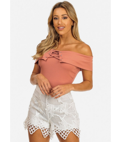 Imbracaminte Femei CheapChic Womens Mauve Strapless Lace-Up Crop Top Multicolor