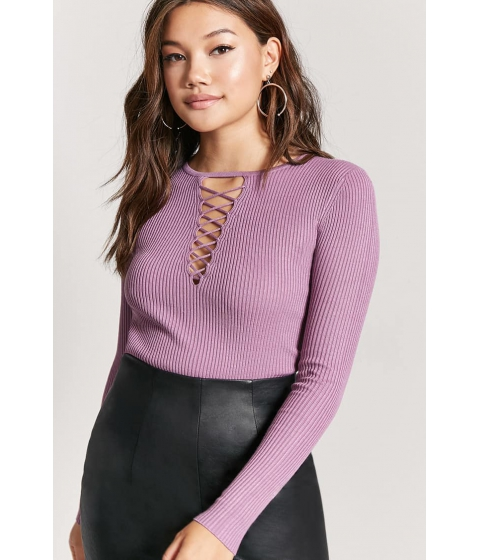 Imbracaminte Femei Forever21 Caged Ribbed Sweater PURPLE