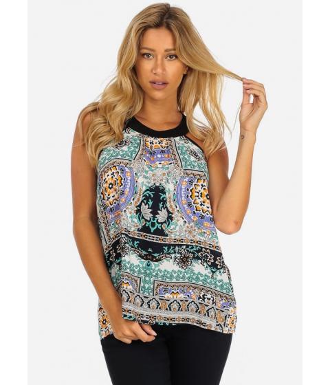 Imbracaminte Femei CheapChic Womens Summer Casual Light Blue Halter Neck Printed Top Multicolor