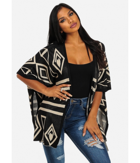 Imbracaminte Femei CheapChic Trendy Black Open Front Printed Cardigan Multicolor