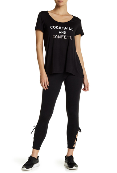 Imbracaminte Femei Betsey Johnson Side Strappy Lace-Up Ankle Leggings BLACK