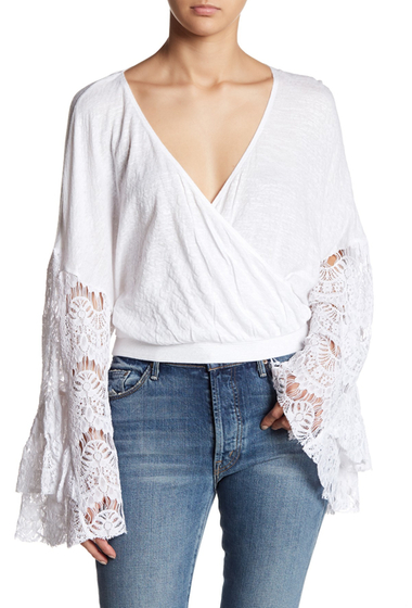 Imbracaminte Femei Wild Pearl Lace Bell Sleeve Crop Top WHITE