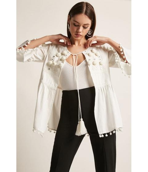 Imbracaminte Femei Forever21 America Beyond Pom Pom Tunic WHITE