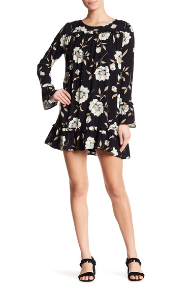 Imbracaminte Femei Lucca Couture Gemma Floral Ruffle Sleeve Dress BLACK LARGE FLORAL