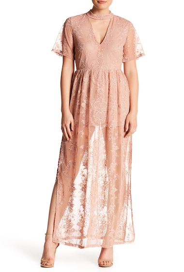 Imbracaminte Femei Socialite Lace Overlay Maxi Romper PINK ADOBE