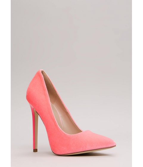 Incaltaminte Femei CheapChic Get There Fast Pointy Velvet Pumps Hotpink