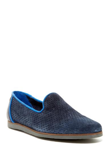 Incaltaminte Barbati Ted Baker London Oshua Perforated Suede Slip-On Shoe DARK BLUE SUEDE