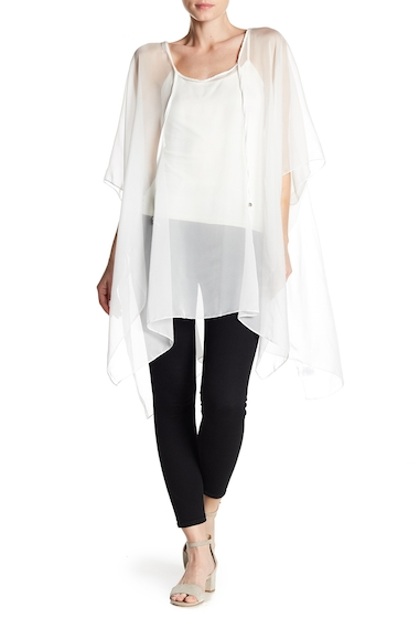 Accesorii Femei 14th Union Solid Sheer Poncho WHITE