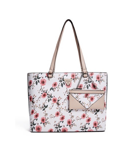 Genti Femei GUESS Circlewood Floral Tote white multi