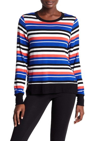 Imbracaminte Femei Marc New York Hi-Lo Multi-Stripe Long Sleeve Tee POPPY COMB