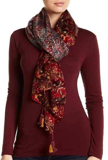 Accesorii Femei vismaya Tassel Trim Floral Silk Scarf BURGUNDY SOFT PINK