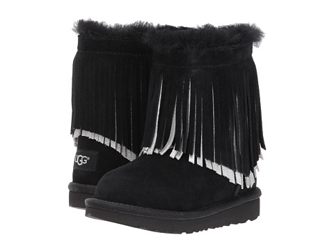 Incaltaminte Fete UGG Kids Classic Short II Fringe (ToddlerLittle Kid) Black