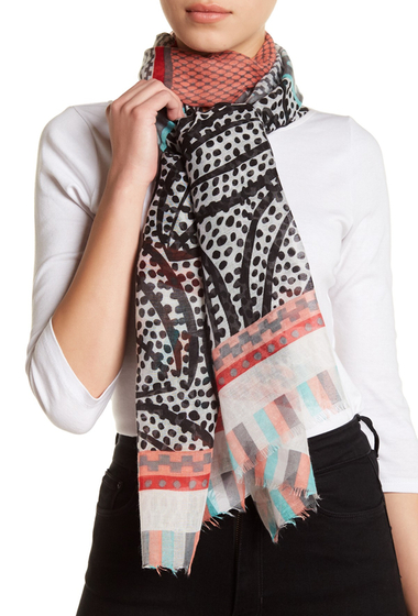 Accesorii Femei 14th Union Tropical Dot Print Wrap Scarf NEUTRAL COMBO