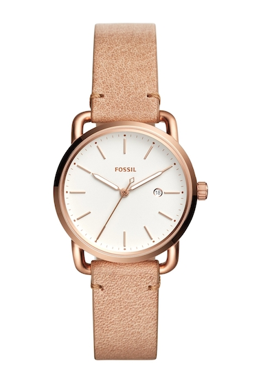 Ceasuri Femei Fossil Womens The Commuter Leather Strap Watch 34mm NO COLOR