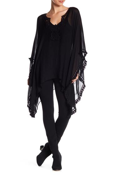 Accesorii Femei Melrose and Market Crochet Trim Poncho BLACK