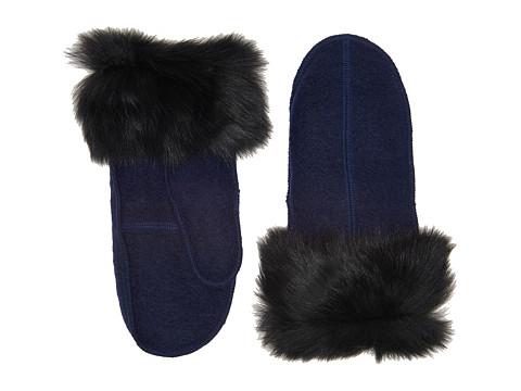 Accesorii Femei UGG Fabric Mitten with Fur Trim New Navy